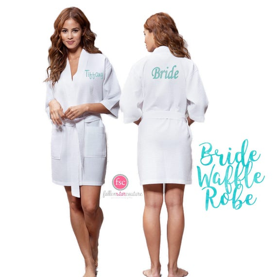 Bride Robe, White Bride Robe, Monogrammed Bride Robe , Personalized Bridesmaid Robes, Bridal Party Robes , Waffle Robes