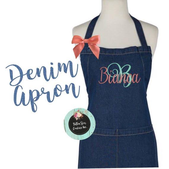 DENIM Monogrammed Apron  , kitchen apron , cooking apron , ladies apron , personalized apron