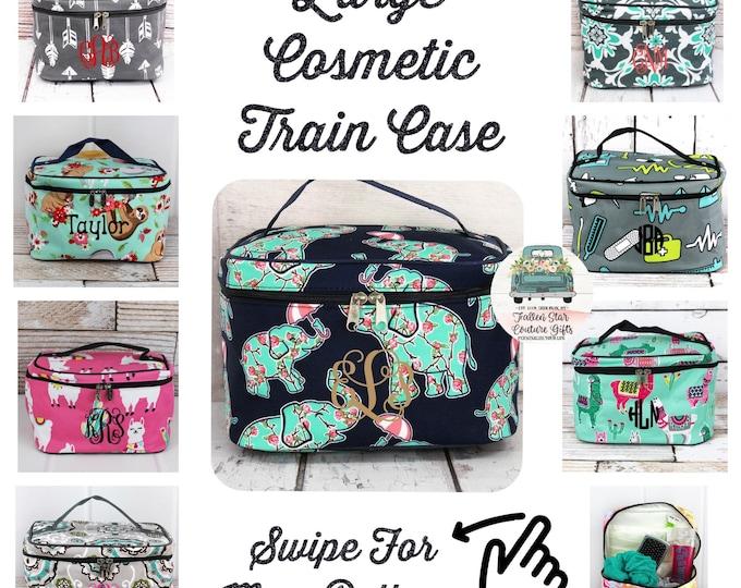 Monogrammed cosmetic case , Large Train Case , personalized makeup case, monogrammed cosmetic case, bridesmaid bag, makeup bag