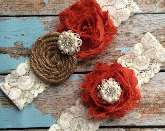 BURNT ORANGE  & Burlap garter /wedding garter / bridal  garter /  garter / barn rustic wedding garter / vintage inspired lace garter
