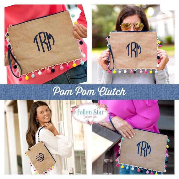Monogrammed wristlet, burlap purse, monogrammed clutch, pom-pom clutch, burlap wristlet, girls wrestling, gifts for her, gift under 20,