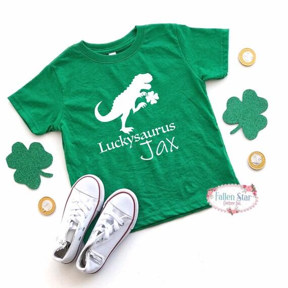 Boys St Patricks Day Shirt , Luckysaurus Kids St Pattys Day Tee , Kids St Patricks Day T Shirt , Dinosaur Shirt