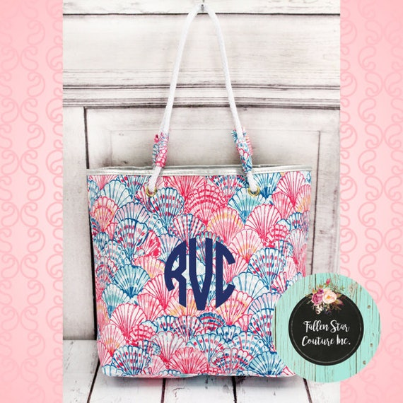 Seashell Tote  bag  , bridesmaid tote bag , bridal party totes, beach bag , monogrammed beach bag
