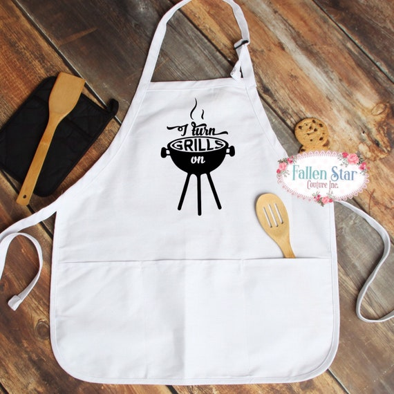 Gifts For Dad , Father's Day Gift, men aprons, I turn grills on, funny man apron, funny dad gift, unique gifts for men
