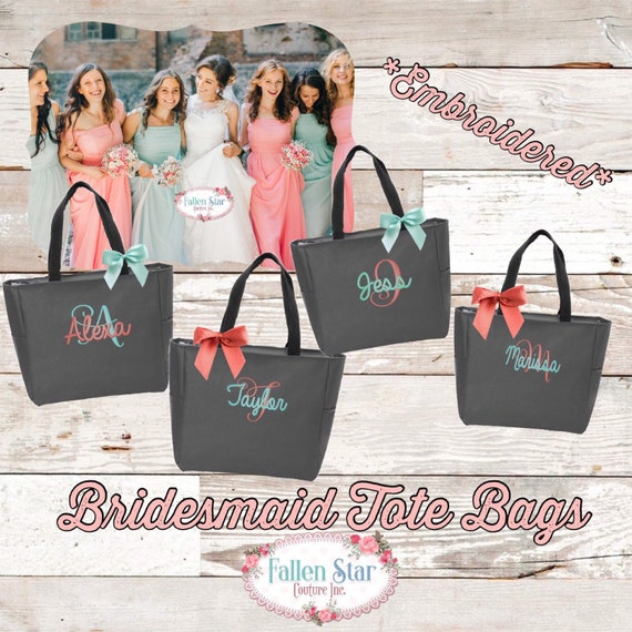 Set of 6 Bridesmaid Tote Bags , Monogrammed Tote Bag, Personalized Tote Bag, Bridesmaid Gifts , Bridal Party Gifts