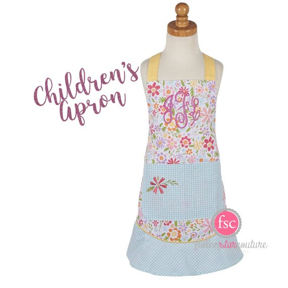 Girls Monogrammed Apron  , childrens baking apron  , girls personalized apron , girls christmas apron , christmas cookie kids apron