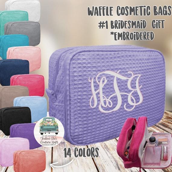 10 bridesmaid makeup bags , bridesmaid waffle bag , monogrammed bag, wedding bag , bridesmaid gifts , personalized bridesmaid gifts