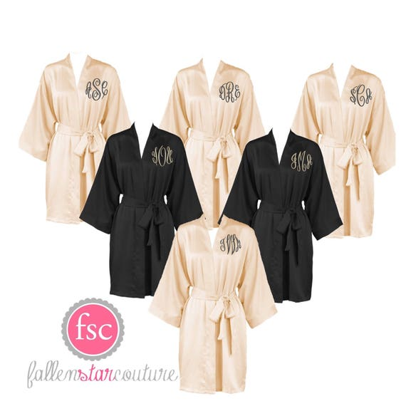 Champagne Bridesmaid Robes, Bridal Party Robes, Bridesmaid Gifts , Personalized Robes, Monogrammed Robes, Black Satin Robe