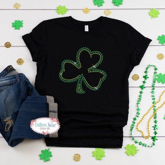 St. Patrick's Day Shirt, Shamrock,  Womans  St. Patrick's Day Shirt , Rhinestone Bling St. Patrick's Day Shirt