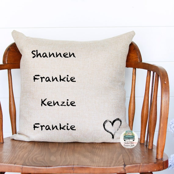 Christmas gift for mom, family name pillow, kids names on pillow, throw pillow, personalized pillow, family name pillow, gifts for mom