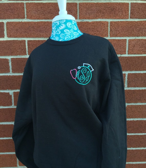 Nurses gift , Ladies Monogrammed sweatshirt , nurse sweatshirt , crew neck sweatshirt , embroidered ladies sweatshirt