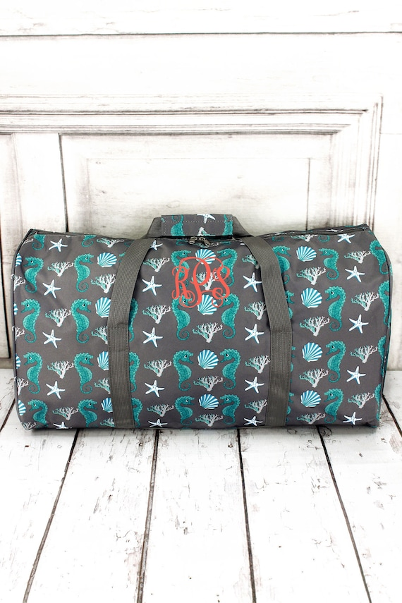 "Seahorse Gray Duffle 22""  Travel Duffel, personalized Weekender Bag , Travel Duffle bag"