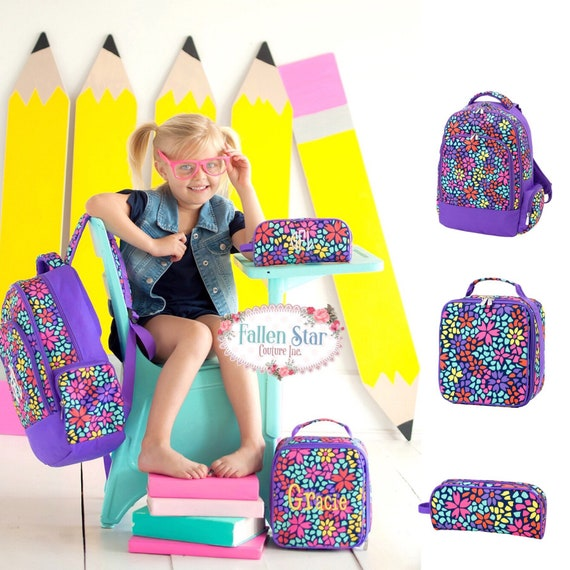 Girls Personalized Backpack, Back To School, Girls Lunchbox, Monogrammed Backpack & Lunchbox, Personalized Backpack  Lunchbox PETAL PUNCH