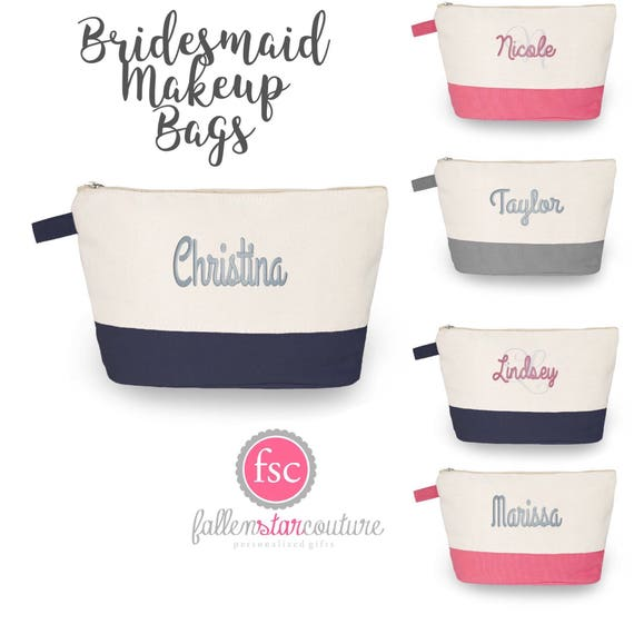 Navy Bridesmaid Makeup Bags, Bridesmaid Cosmetic Bag , Bridesmaid Makeup Bags  , Personalized Makeup Bags , Survival Makeup Bag