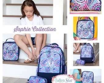 Girls Personalized Backpack, Back To School, Girls Lunchbox, Monogrammed Backpack & Lunchbox, Personalized Backpack  Lunchbox  SOPHIE