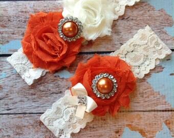 BURNT ORANGE wedding garter set / bridal  garter/  lace garter / toss garter included /  wedding garter / vintage inspired