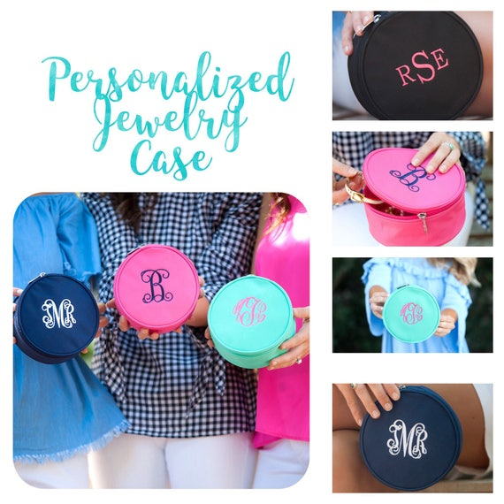 Monogrammed jewelry  case, personalized jewelry pouch, travel jewelry case, bridesmaid gift, Mother's Day gift, gift for girls