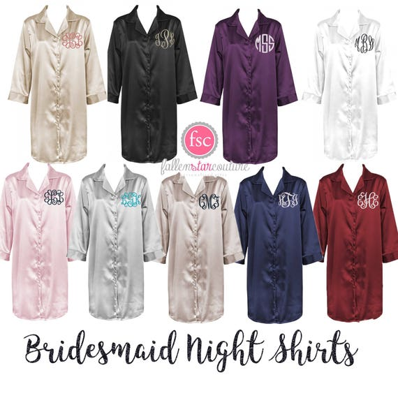 Satin Night Gown Satin Night Shirt Bridesmaid Shirts Ladies Pajamas Girlfriend Gifts Monogrammed Pajamas Wife Gifts