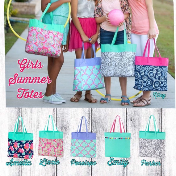 Girls tote bag , tween tote bag , kids travel bag , personalized girls tote , gifts for girls , gifts for teens