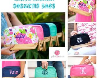Personalized LARGE Makeup Bag, Cabana Cosmetic Case , Monogrammed Makeup Bag, Cosmetic Train Case , Large Makeup Bag