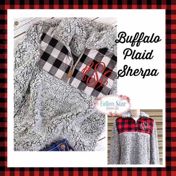 SHERPA Pullover , Buffalo Plaid Monogrammed Sherpa Pullover, Sherpa Quarter zip, Monogrammed Quarter Zip