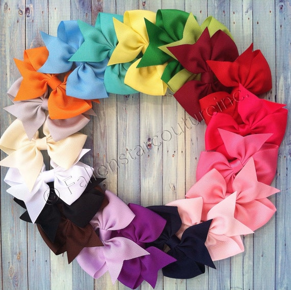Hair Bows, Hair Clips ,Bows For Girls , Little Girl Hair Bows, 4 Inch Hair Bow, Half Pinwheel Hair bows, Hair bows For Girls , Baby Bows