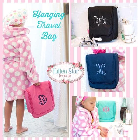 Hanging Toiletry Bag, Girls Travel Toiletry Bag, Cosmetic Bag, Personalized Travel Bag , Teen Christmas Gift , Monogrammed Girl Cosmetic Bag