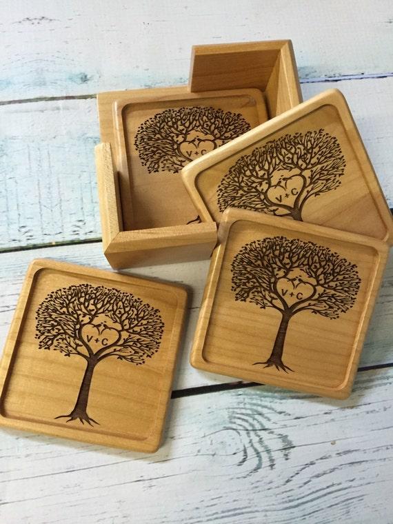 personalized wood coaster set , wood coasters , new house gift , wedding gift , coasters