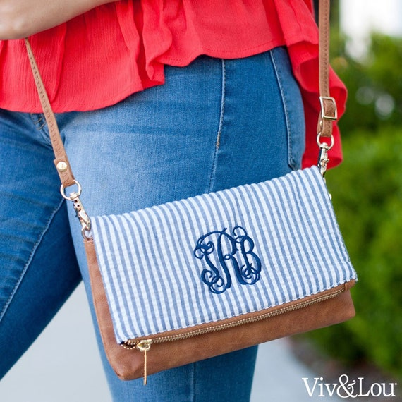 Monogrammed crossbody , Seersucker purse , personalized purse  , summer crossbody bag , teen pocketbook , crossbody purse