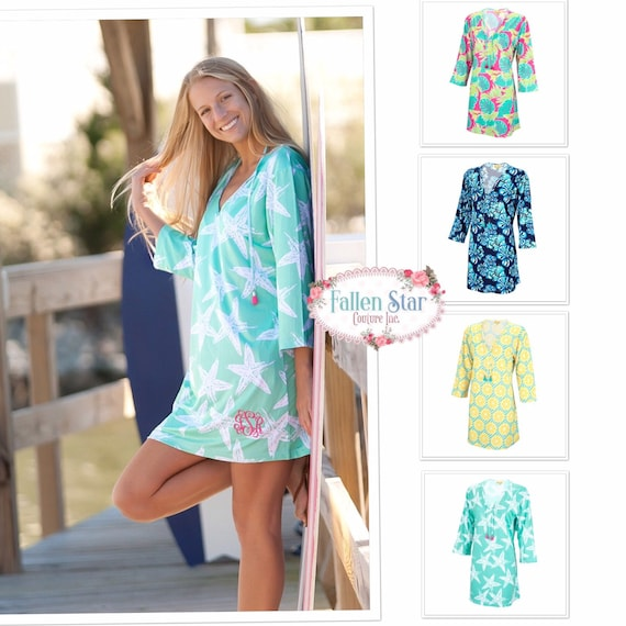 Monogrammed Cover Up, Beach Tunic, Beach Cover up, Pool Coverup , Personalized resort wear, Vacation Cover up , Sun Dress