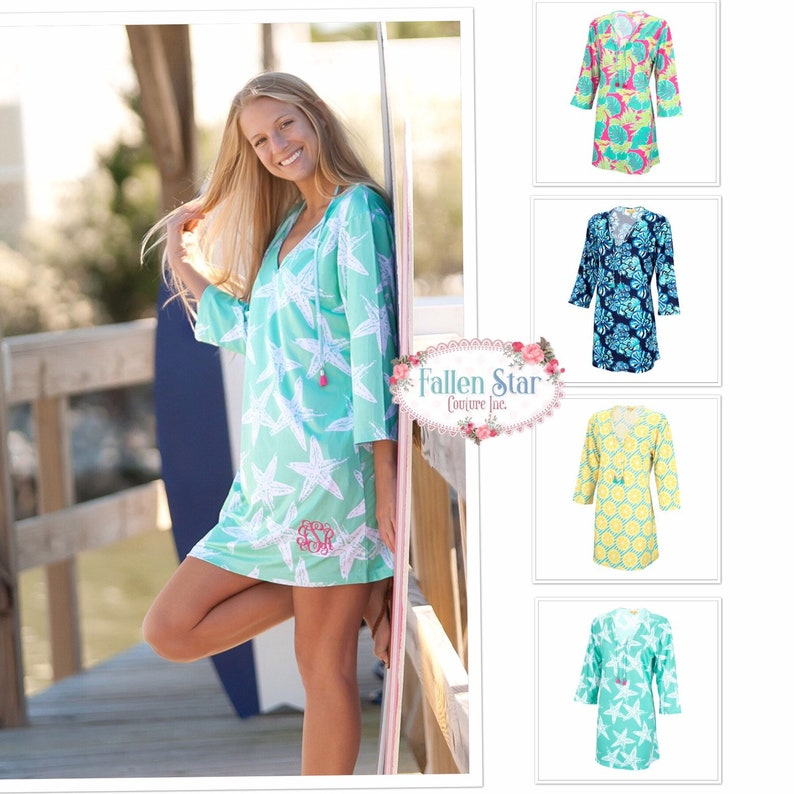ae9c43920f4b5 Monogrammed Cover Up Beach Tunic Beach Cover up Pool   Etsy