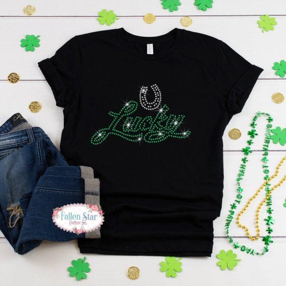 St. Patrick's Day Shirt, Lucky , Ladies Irish Shirt, Womans  St. Patrick's Day Shirt , Rhinestone Bling St. Patrick's Day Shirt