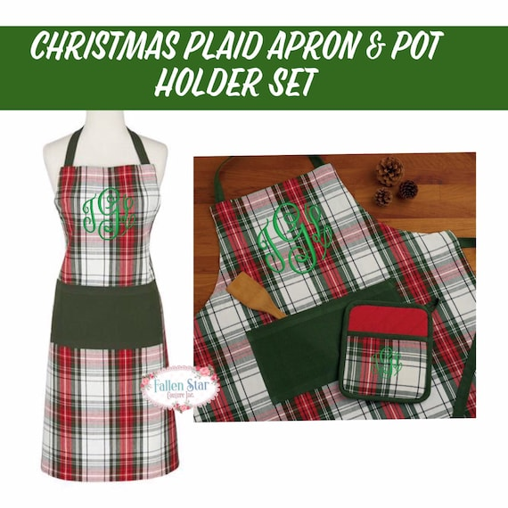 Christmas plaid apron potholder set personalized apron, monogrammed apron,  plaid apron