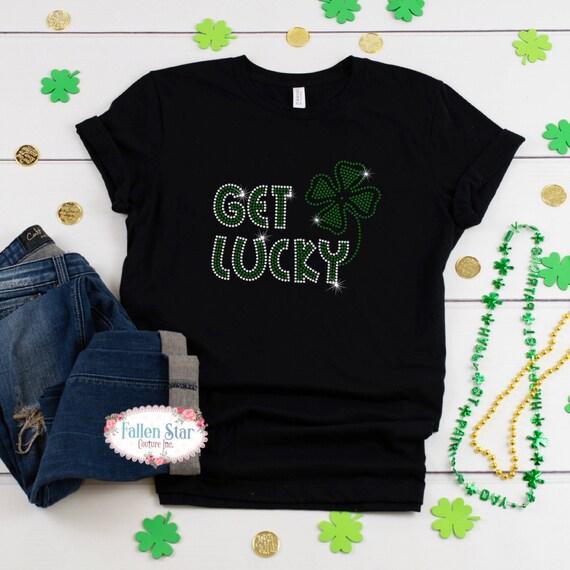 St. Patrick's Day Shirt, Get Lucky ,Ladies Irish Shirt, Womans  St. Patrick's Day Shirt , Rhinestone Bling St. Patrick's Day Shirt