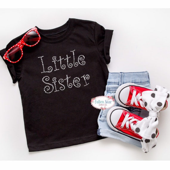 Little sister shirt, baby sister T-shirt, little sister gift, new little sister, baby sister gift, gifts for new sisters, rhinestone bling
