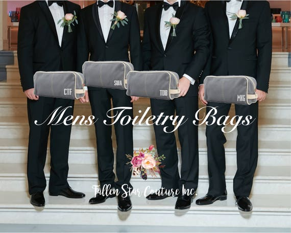 Gray Men's Toiletry Bag , Dopp Kit , personalized Men's travel Bag , Groomsman Gift , Groomsmen gift bag, embroidered gifts