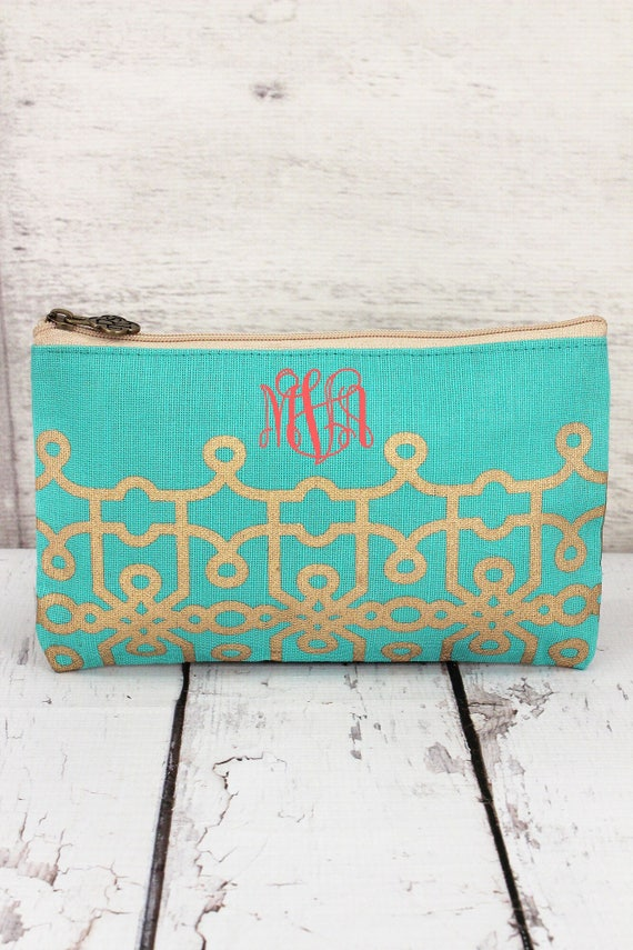 MINT and GOLD  jute cosmetic bag, personalized makeup bag, monogrammed cosmetic bag, bridesmaid bag,