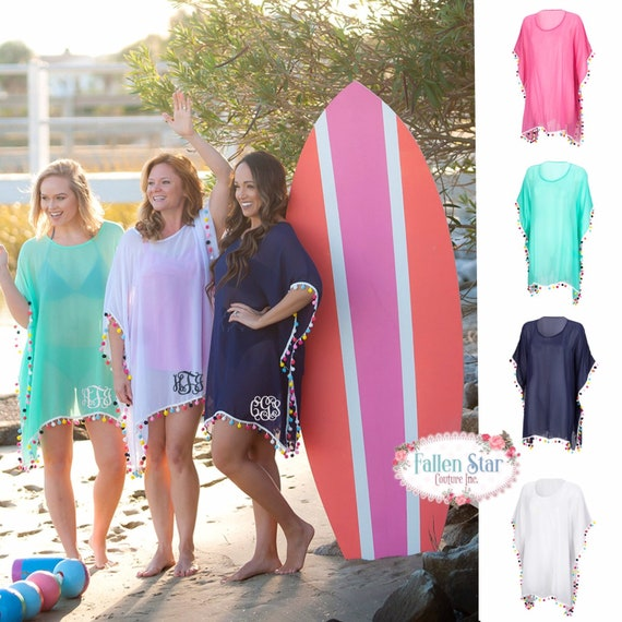 Monogram Beach Cover Up,  Personalized Pom-Pom Cover Up, Womens Monogram Beach Cover Up, Monogrammed Swimsuit Cover Up, Beach We