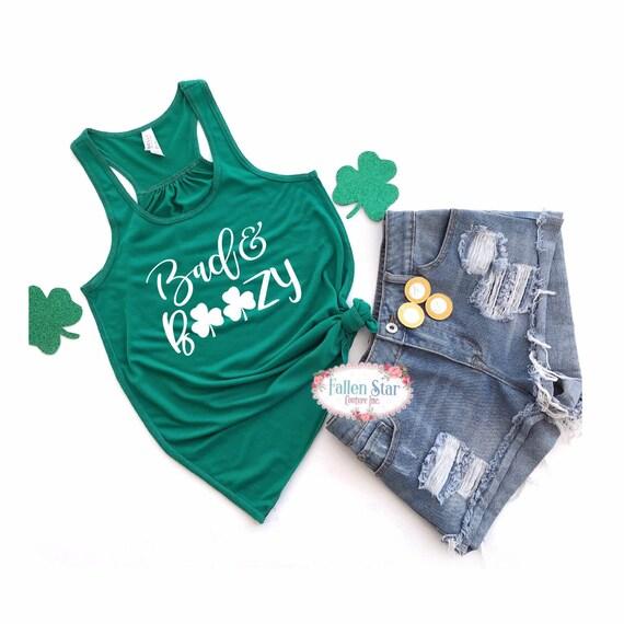 Bad And Boozy , St Patricks Day Shirt ,Ladies St Paddys Day Shirt, Irish Shirt, Green Shirt