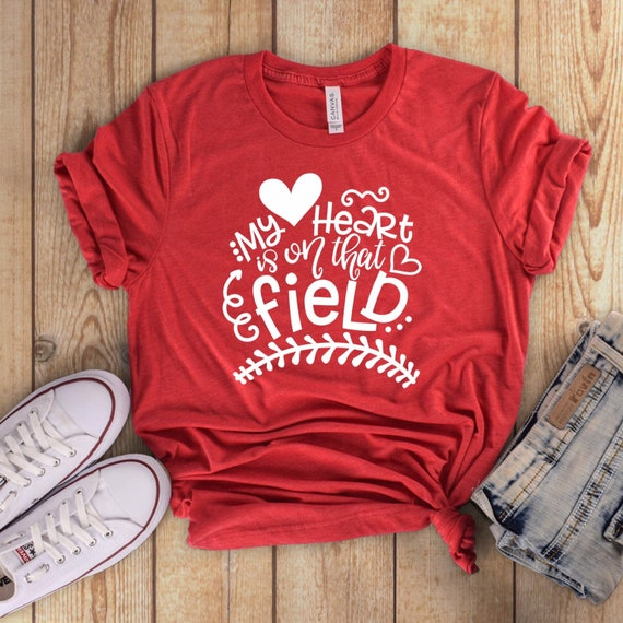Baseball mom shirt, baseball mom tank , gifts for baseball mom, travel ball baseball mom shirts, My heart is on that field