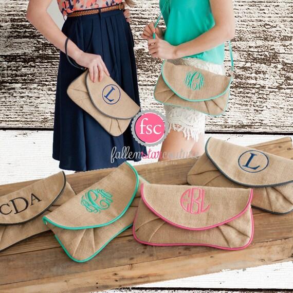 Burlap Clutch, Burlap Wristlet, Burlap Purse , Monogrammed Wrist let , Monogrammed Clutch , Gifts for Her , Gifts Under 20 , Ladies Gifts