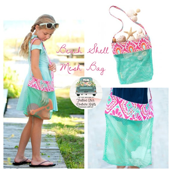 CLEARANCE -Sea Shell tote bag , kids beach bag, beach tote, Shell bag, monogrammed beach bag, shell tote beach bag,