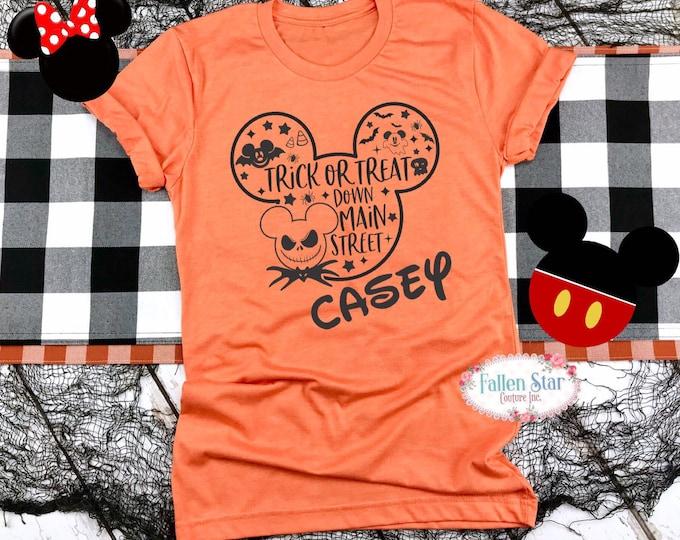 Let's trick-or-treat down main street shirt, Disney Halloween shirt, personalized Halloween Disney, family Disney trip, family vacation shir