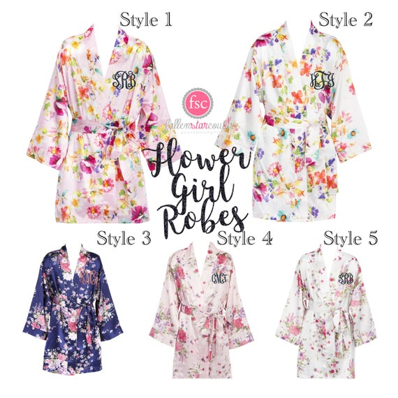 Floral Flower Girl Robes , Flower Girl Robes , Girls Floral Robes , Bridal Party Robes , Little Girl Robes , Flower Girl Satin Robe