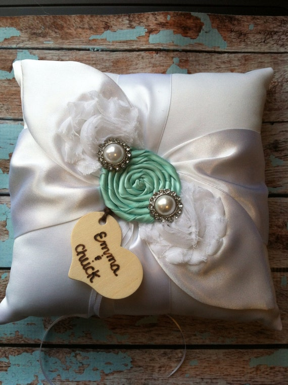 RING BEARER PILLOW / aqua blue / personalized ring bearer pillow , rustic wedding , barn yard ,wedding pillow , wedding pillow