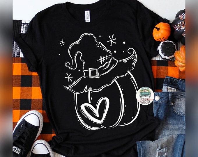 Fall Pumpkin Tee Shirt, Ladies Fall Shirt,  Girls Halloween Tee , Witch Shirt , Pumpkin Shirt, Trick or Treating Shirt , Pumpkin Picking