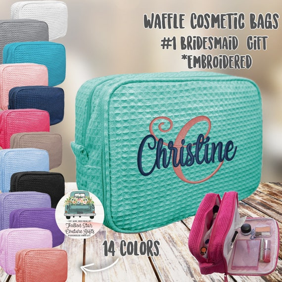 4 bridesmaid makeup bags , waffle makeup accesory bags, monogrammed bag, wedding bag , bridesmaid gifts , personalized bridesmaid gifts