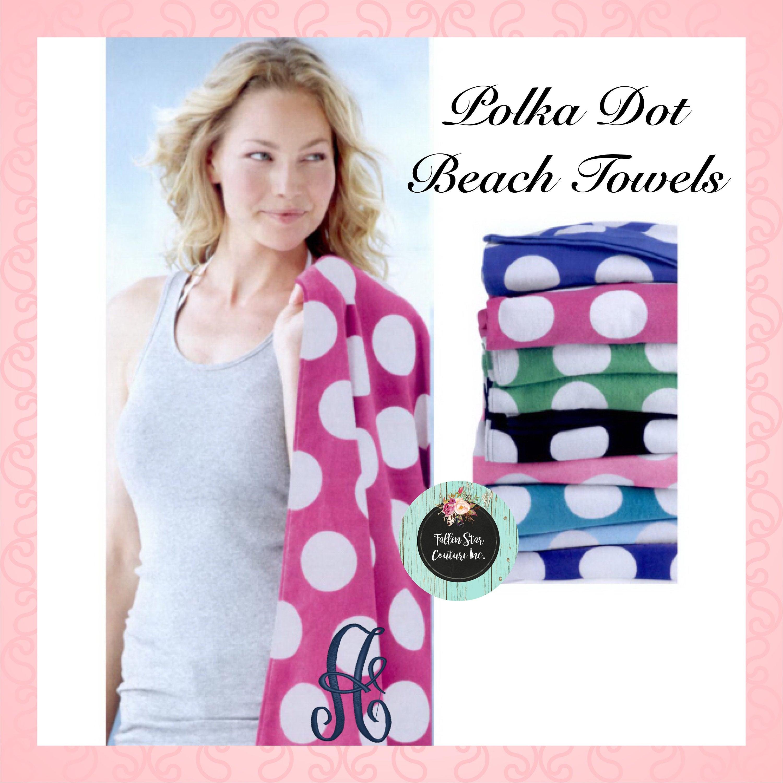 Monogrammed Beach Towels Polka Dot Personalized Beach