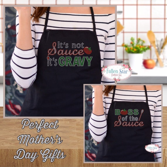 Monogrammed Apron  , kitchen apron , cooking apron , ladies apron , personalized apron, MOTHERS DAY GIFTS , boss of the sauce, italian