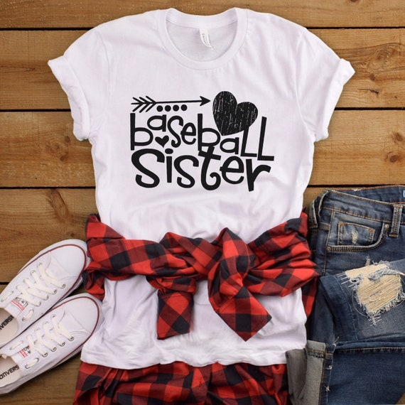 Baseball sister shirt, baseball sister T-shirt, baseball sister tank top, baseball girls apparel, sports sister shirts